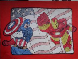 Captain America v.s. iron man by galis33