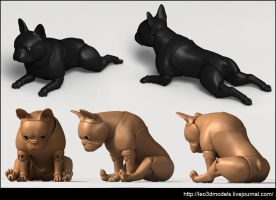 French-Bulldog-poses by leo3dmodels