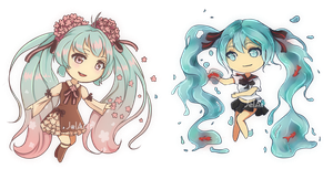 Chibi Bottle and Chuko Miku by JelArts