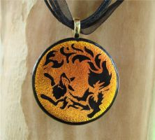 Fox Fire Fused Glass Pendant by FusedElegance
