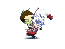 Chibi Commission: Yin and Alex by Goaterz