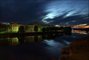 castle of Jelgava at night by dincha