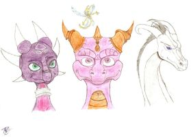 Cynder, Spyro, Sparx and Illuminous by DrakenAngelus2