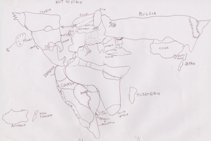 World Map Line Art by WhippetWild
