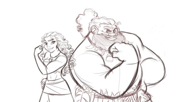 Moana and Maui-who's stronger? Sketch by Nippy13