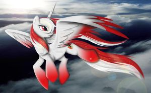 flight of the red and white alicorn by lizzytheviking