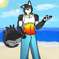At The Beach ( with shading and background ) by Arc1996