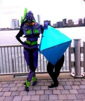 Evangelion Cosplay - Ranmiel and Unit 01 by cuttoothom