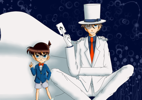 Edogawa Conan and Kaitou Kid by ninhofontes