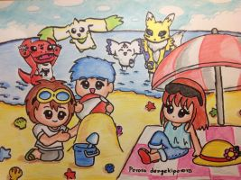 Tamers at the beach by dengekipororo