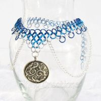 Mermaid Blue and Silver Necklace by merigreenleaf
