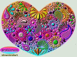 Heart Zentangle Doodle Drawing by Kathy (Coloured) by Silverstroller1
