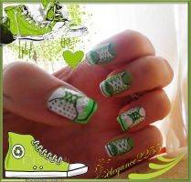 Green Sneakers Nails by elegance2255