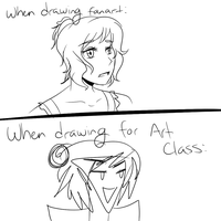 When Drawing Fanart vs. When Drawing for Art Class by Deidaras-roomate
