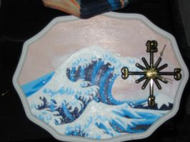 Great Wave clock by grimfairy138