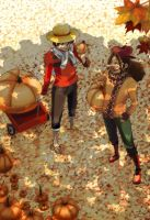 Usopp and Luffy: Pumpkin Picking by weezajin