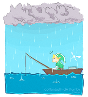 loz: fishing in the rain by cottonball