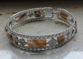 Native style silver genuine agate cuff by Toowired