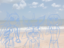 Girls at the Beach Sketch by SkyminHAZBOZ