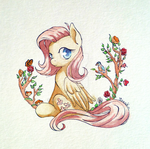 Fluttershy Watercolor by Moenkin