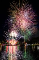 Fireworks over the river by Mickyjftw