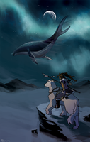 Korra and the Sky Whale by Serain