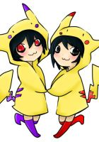 L and BB in pikachu costumes by GeneralRaivis