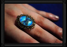 """Blue butterfly"" Ring by 13thpsyche"