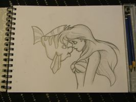 Ariel and Flounder by RedwoodLisa