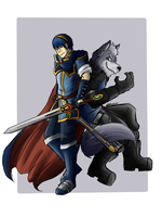 Marth and Wolf by rubymight
