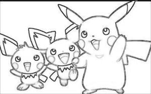 Pikachu and Pichu -No Color- by charmanderfan7