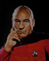 Captain Jean-Luc Picard Cross Stitch by bunkthis