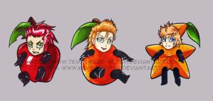 Trio Fruit Chibis - colab by KeyshaKitty