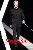 Super High Quality 8 Button Black Mandarin Banded by mensusasuits