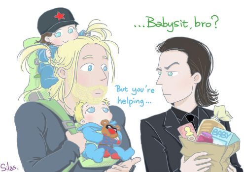 Thor and Loki: Babysit by SilasSamle