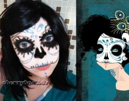 Halloween Makeup Look Cute Skull Blue by cherrybomb-81