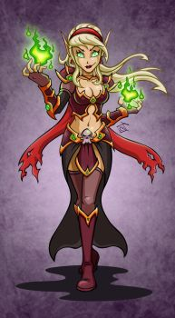 Blood Elf Warlock: Marbelle by hooksnfangs