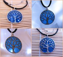 Starry Night Series  Sparkling Night Tree Necklace by Tsurera