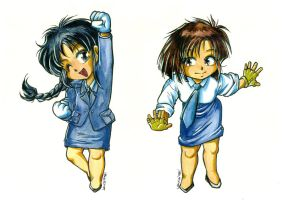 1998 :: Taiho Shichauzo You're Under Arrest chibis by PinkAppleJam