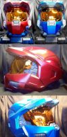 Red and Blue Halo Helmets by Wallcrawler62
