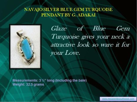 Navajo Silver Blue Gem Turquoise Pendant By G. Ada by mesaverde1