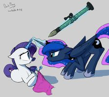 What you get for messing with Luna's stuff Rarity by DarkFlame75