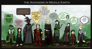 The Fellowship of the Avengers in Middle Earth by souzou-en-ciel