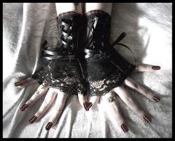 Corset Fingerless Glove Cuffs by ZenAndCoffee