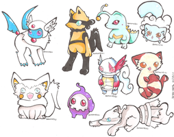 Finally More Pokemon Hybrids by PinkMelodii