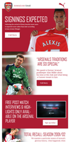 Arsenal email design by KieranMoranMedia