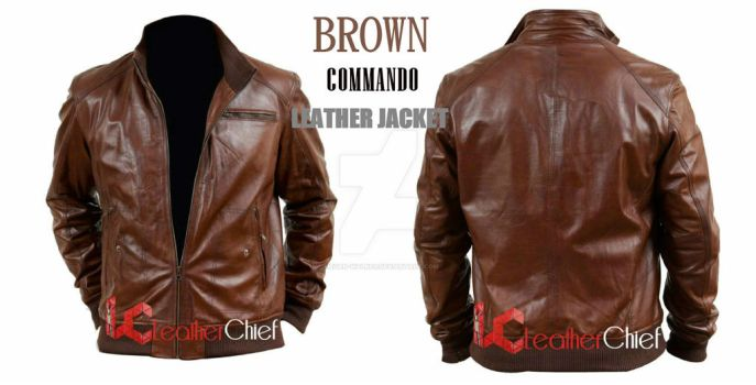 Brown Commando Leather Jacket by Megan-Walker