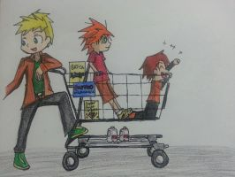Flash family shopping by Randompikaturtle