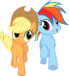 MLP: Applejack and Dashie in Fall Weather Friends by FloppyChiptunes