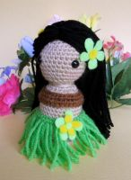Tahitian dancer - Kokeshi inspired Doll by missdolkapots